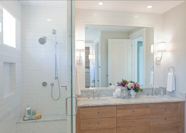 Bathroom. Small Bathroom Design Ideas. Small Bathroom with separate shower and custom vanity design. Clean lines and uncomplicated material choices such as white subway tiles and marble make of this bathroom a beautiful space. #Bathroom #BathroomDesign #SmallBathroom #SmallBathroomIdeas