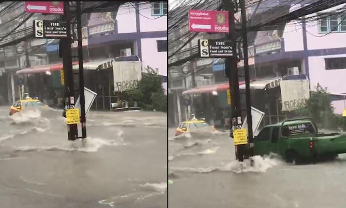 """ทะเลบนถนน """"พัทยา"""" พายุฝนถล่มน้ำท่วมหนัก ไหลซัดรถแทบกระเด็น"""