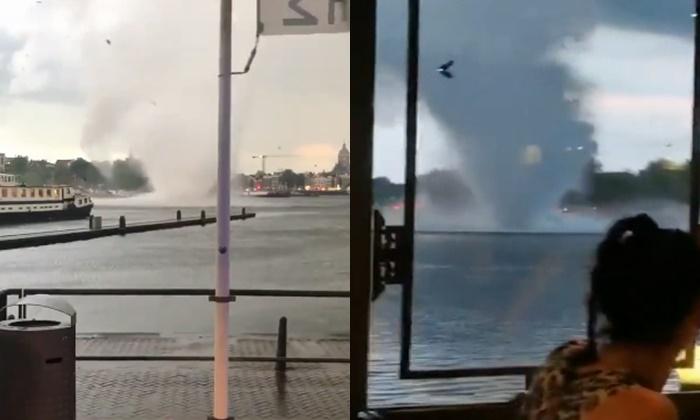 """""""พายุทอร์นาโด"""" โผล่ใจกลางกรุงอัมสเตอร์ดัม ลมแรงพัดถล่มสุดสะพรึง"""