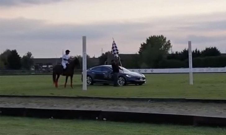จบแบบคาดไม่ถึง! ชม Tesla Model S ปะทะ ม้า ในการแข่งขันสุดแปลก (คลิป)