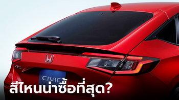 ไปดู Honda Civic Hatchback 2022 ใหม่ ทั้ง 5 สี สีไหนน่าซื้อที่สุด?