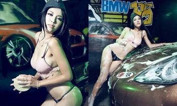 แค่ล้างรถต้องโป๊ขนาดนี้ไหม! พริตตี้จีนโชว์ล้างรถเซ็กซี่