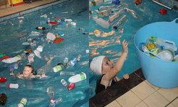 โรงเรียนให้เด็กนักเรียน ว่ายน้ำในสระที่เต็มไปด้วยขยะพลาสติก เพื่อปลูกฝังปัญหาขยะล้นโลก