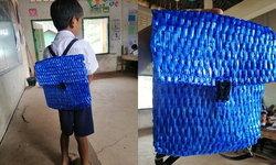 """""""กระเป๋านักเรียนจากเชือกฟาง"""" คุณพ่อไม่มีเงินซื้อกระเป๋า เลยทำกระเป๋าให้ลูกจากของที่มี"""