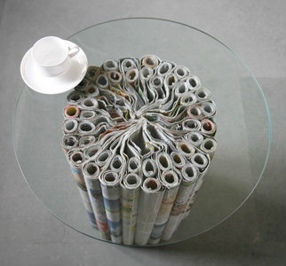 DIY เฟอร์นิเจอร์จากหนังสือพิมพ์เก่า