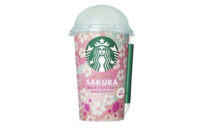 "Starbucks เตรียมวางขายเครื่องดื่มรสชาติใหม่ ""Sakura Caramery Milk with Mixed Berry"" ที่ร้านสะดวกซื้อ"