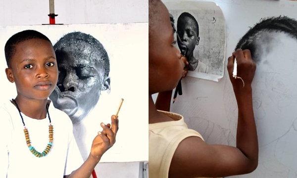 """""""เด็ก 11 วาดภาพศิลปะ"""" ออกมาได้สมจริง ความสามารถเกินวัยมากๆ"""