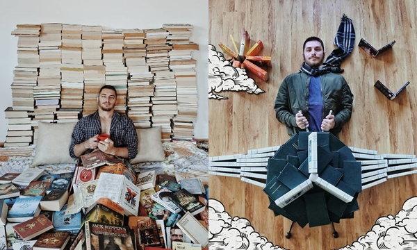 """หนุ่มหนอนหนังสือ ถ่ายภาพ """"ศิลปะจากหนังสือ"""" จากหนังสือที่สะสมไว้กว่า 1,100 เล่ม"""