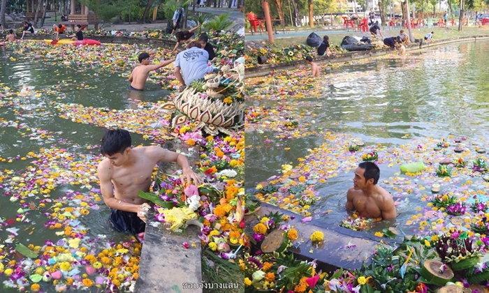 """ไม่ให้สิ่งแวดล้อมบอบช้ำ นศ. """"มหาวิทยาลัยบูรพา"""" ทำความสะอาดสระหลังลอยกระทง"""