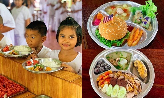 """อาหารกลางวันนักเรียน """"โรงเรียนเพชรน้ำผึ้ง"""" น่ากินเต็มไปด้วยคุณค่าโภชนาการ"""