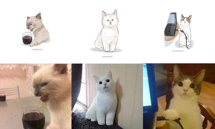 เป็นน่ารัก! ภาพวาดสุดตะมุตะมิ เปลี่ยนรูปถ่ายน้องแมวเป็นการ์ตูน