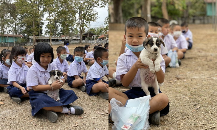 สาวไปแจกของให้กับโรงเรียนห่างไกล เจอเด็กน้อยมาขออนุญาตเอาน้องหมาต่อคิวด้วย