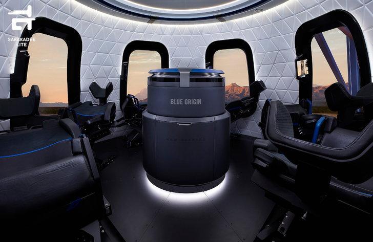 ห้องโดยสารภายในกระสวยอวกาศของ Blue Origin