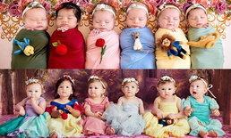 """""""ทารกในชุดเจ้าหญิงดิสนีย์"""" ภาพถ่าย เปรียบเทียบ 1 ปีที่ผ่านไปน่ารักขึ้นไปกอง"""