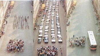 """เปรียบเทียบกันชัดๆ อะไร """"กินพื้นที่จราจร"""" มากกว่ากัน รถยนต์ รถเมล์ และ รถจักรยาน"""