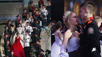 """หรูหราหมาเห่า """"งานเต้นรำปิดการศึกษา"""" ของนักเรียนเตรียมทหารรัสเซีย"""