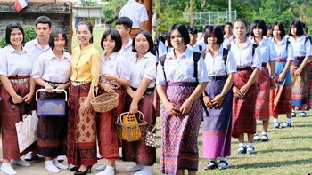 """ความคิดดี """"โรงเรียนกระเทียมวิทยา"""" ให้นักเรียนใส่ผ้าไหมมาโรงเรียนทุกศุกร์ อนุรักษ์ผ้าไทย"""
