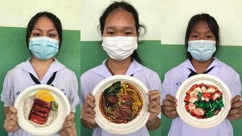 ผลงานเด็ก ม.2 วาดอาหารบนจานกระดาษ สวยทะลุมิติ เหมือนของจริงอยู่บนจาน