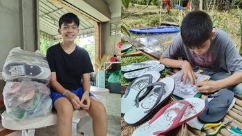 เด็ก ป.5 ฝีมือดี แกะลายรองเท้าแตะ ผลงานเจ๋ง สร้างรายได้ช่วยที่บ้านช่วงปิดเทอม