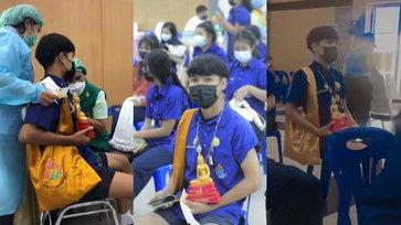 อุ่นใจไว้ก่อน นักเรียนห้อยพระ อุ้มพระพุทธรูป จัดเต็มมาฉีดวัคซีน แคล้วคลาดชิลๆ