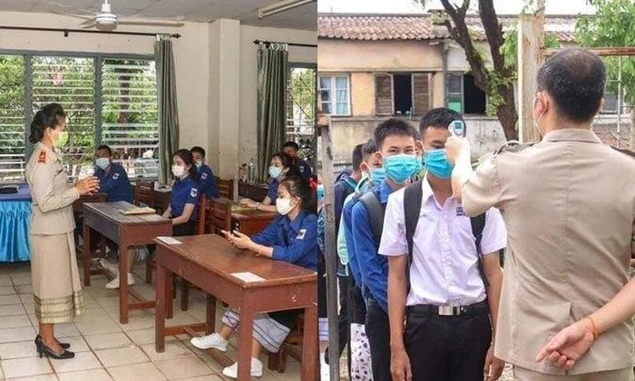 ภาพบรรยากาศเปิดเรียนวันแรกหลังจากโควิด-19 ของโรงเรียนจาก สปป. ลาว
