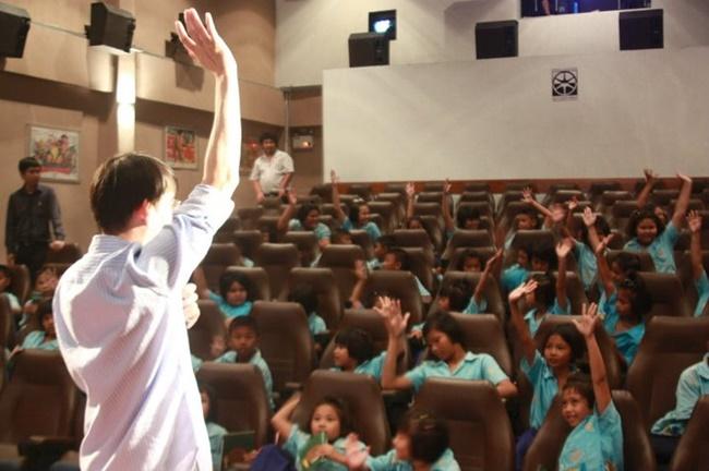 บรรยากาศกิจกรรมในโครงการโรงหนังโรงเรียน จัดโดยหอภาพยนตร์ (องค์การมหาชน)