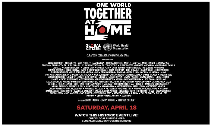 ศิลปินดังทั่วโลก รวมพลังจัดคอนเสิร์ต 'One World: Together At Home'