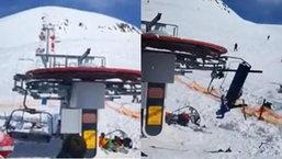 นาทีชีวิต! กระเช้าไฟฟ้าขัดข้อง เหวี่ยงนักสกีกระเด็นคนละทิศละทาง