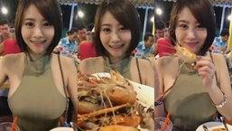 คลิปชวนเจริญอาหาร สาวชวนมากินกุ้ง กุ้งตัวแน่นมาก !!