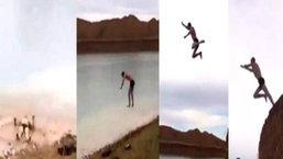 สุดหวาดเสียว! เมื่อมีคนนึกสนุกลองกระโดดน้ำจากที่สูง ดันกะระยะพลาด