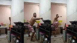 แชร์สนั่นคลิปสุดฮา เมื่อพ่อบ้านหน้าโหดต้องมาเข้าครัวทำกับข้าว