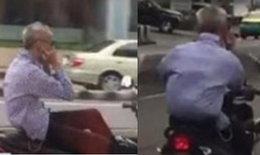 คลิปคุณลุงสุดชิลขี่รถจักรยานยนต์ไม่จับแฮนด์