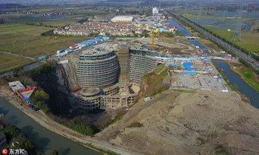 เผยภาพ โรงแรม 5 ดาวในหลุมลึก ที่เซี่ยงไฮ้ เริ่มเป็นรูปเป็นร่างแล้ว