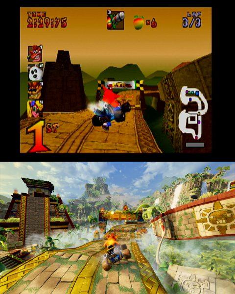 ภาพเปรียบเทียบระหว่าง Crash Team Racing กับ Crash Team Racing Nitro-Fueled
