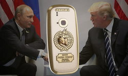 """ชมมือถือ """"Nokia 3310"""" เคลือบทองคำ 24 กะรัต พร้อมรูปหน้า 2 ประธานาธิบดีระดับโลก"""