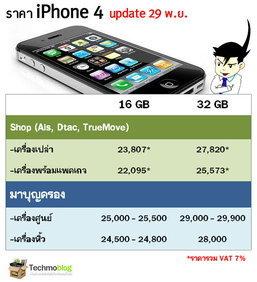อัพเดทล่าสุด ราคา iPhone 4 จากห้างดัง และราคาใน Internet