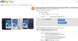 Samsung Galaxy S3 เครื่องเปล่า ใน eBay ปรับราคาลง