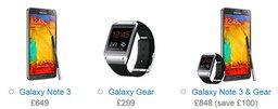 ราคา Samsung Galaxy Note 3 และ Galaxy Gear ในอังกฤษ จะเริ่มต้นที่ 31,500 บาท