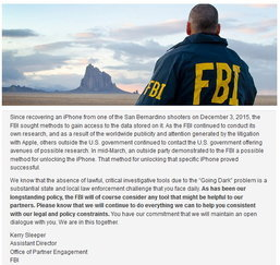 FBI บอกตำรวจท้องถิ่น เรายินดีช่วยคุณปลดล็อคอุปกรณ์อิเล็กทรอนิกส์