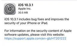 Apple ปล่อย iOS 10.3.1 ออกมาแล้วในเวลาไม่ถึง 1 สัปดาห์