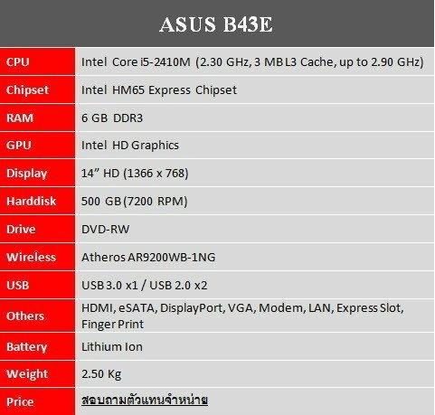 รีวิว ASUS B43E [เครื่องโมเดลธุรกิจพร้อมการเชื่อมต่อที่ครบครัน]