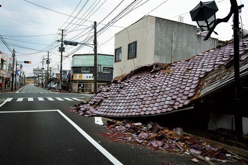 Deserted streets, in Namie town, inside the 20kilometre nuclear exclusion zone (which has been evacuated due to high levels of nuclear radiation contamination from the explosion of Fukushima Daiichi nuclear plant on March 11th 2011, following the earthqua