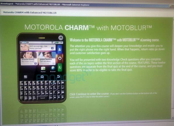Motorola Charm แอนดรอยด์ดีไซน์ BB