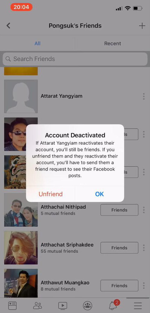 Facebook shows inactive accounts for your friend's friends