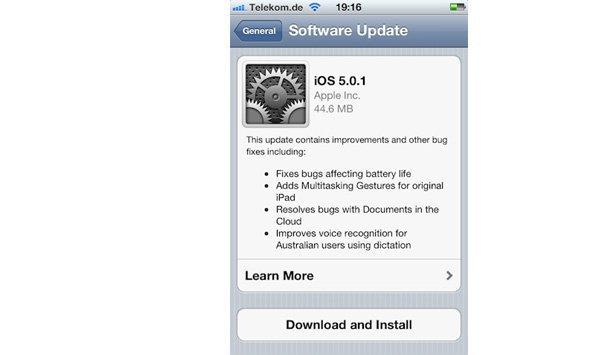 Apple ปล่อย iOS 5.0.1 ให้ iPhone, iPad, iPod Touch อัพเดทแบบไร้สายได้แล้ววันนี้!