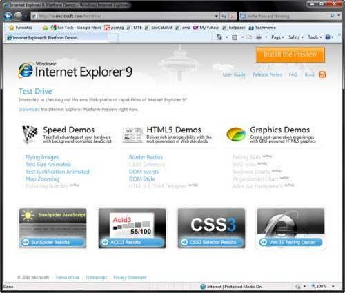 """MS พรีวิว IE9 เน้น""""ความเร็วกับมาตรฐาน"""""""