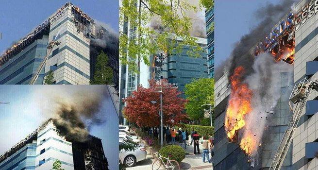 เคราะห์ซ้ำโสมใต้!! ไฟไหม้ตึกซัมซุง