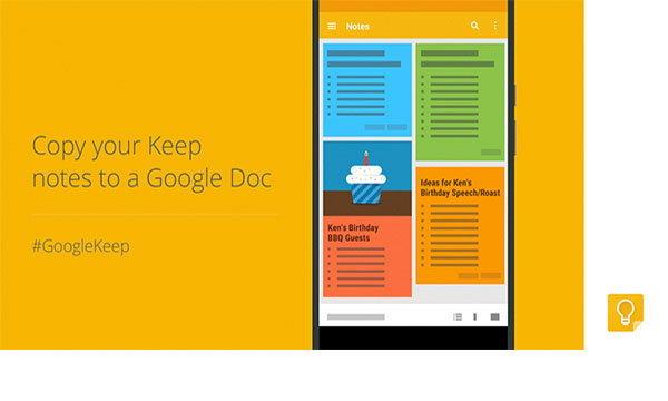 Google Keep เพิ่มความสามารถคัดลอกข้อความเข้า Google Docs ใน Android