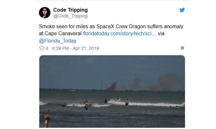 พบความผิดพลาดในการทดสอบยาน Crew Dragon ของ Space X ในฟลอริด้าสหรัฐอเมริกา