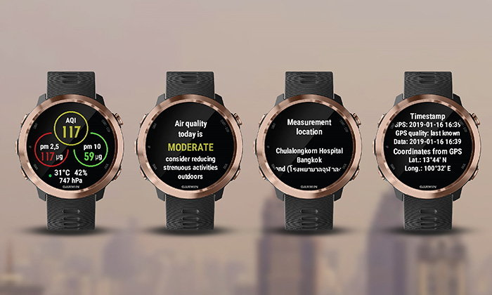 """Airly"", a new water jet, helps air quality. In the watch ""Garmin"""
